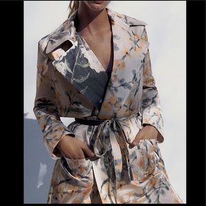 Zara Limited Edition Flowy Printed Trench Coat